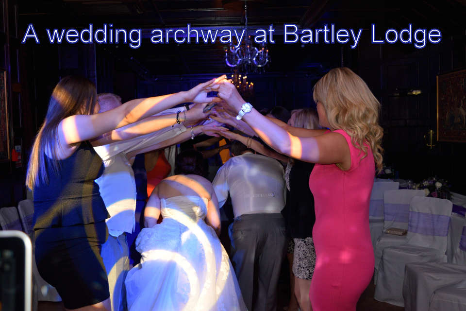 A wedding archway at Bartley Lodge