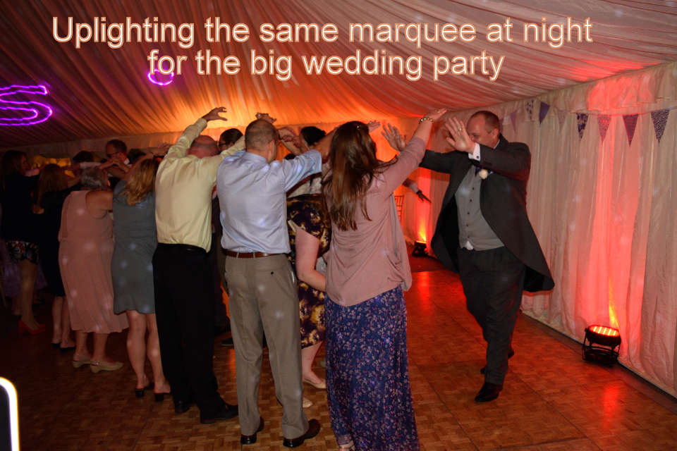 Uplighting the marquee wedding party