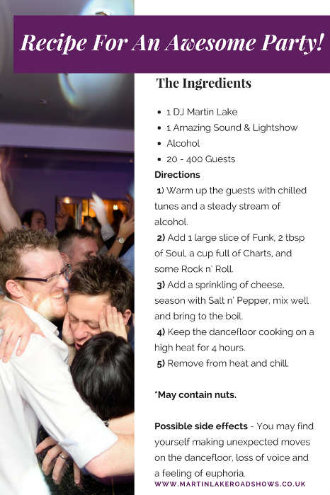 Recipe For An Awesome Party - Hampshire DJ Martin Lake - Wedding Disco