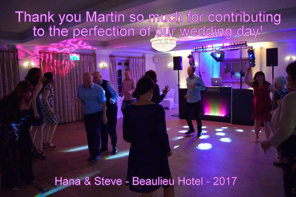 Hana & Steve Testimonial - Beaulieu Hotel - DJ Martin Lake